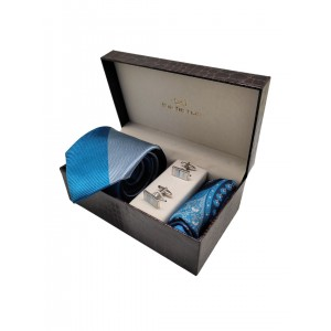 Blue Stripe Necktie with Mop cufflink and Pocket Square Combo