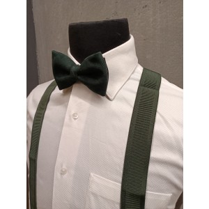 Green Stripe Y Back Suspender with Green Suede Bow Tie Combo Set