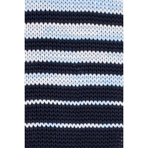 Timber Stripe Blue And Navy Slim Handmade Knitted Necktie