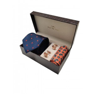 Navy Polka Necktie with Cufflink and pocket Square Combo