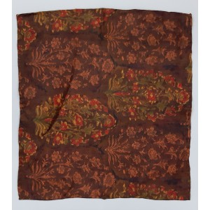 Brown Paistal Print 100% Pashmina Pocket Square