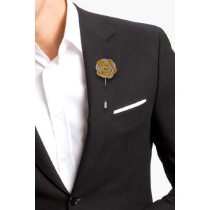Foxglove - Grey/Chrome Yellow (Lapel Pin)