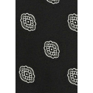 Delisa Black With Grey Geo Microfiber Necktie