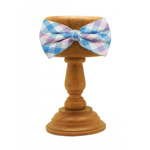 Blue and Pink 100% Silk Checkered Bow Tie