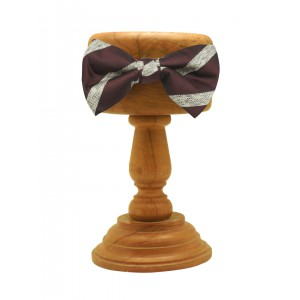 Wine with White Stripe Silk Bow Tie
