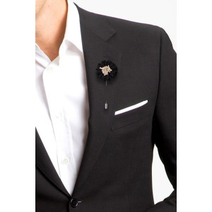 Daisy Black Flower Lapel Pin