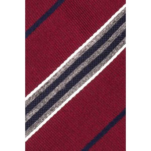 Rival Stripe Maroon And Grey Cashmere Necktie by The Tie Hub