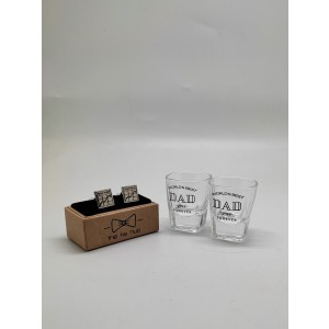 Shot Glasses and Stock Market Silver Cufflinks