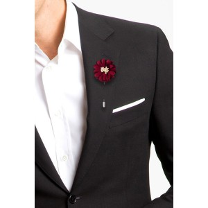 Daisy Maroon Flower Lapel Pin