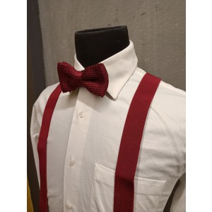 Booster Solid Maroon Y Back Suspender with Maroon Knitted Bow Tie Combo Set