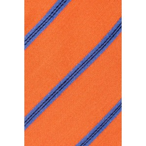 Orange And Blue Striped Wool And Silk Necktie For Men  By The Tie Hub