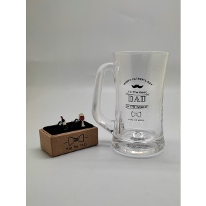 Beer Mug and Wine Bottle and Glass Cufflinks