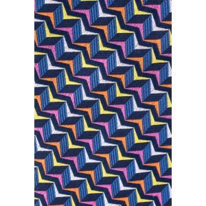 Navy Blue With Multicolor Wave 100% Silk Necktie