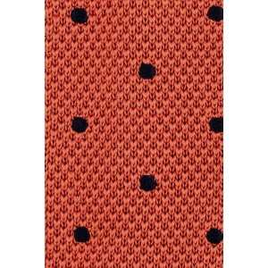 Rosewood Rustic Orange with Navy blue Polka Dots Slim Knitted Necktie
