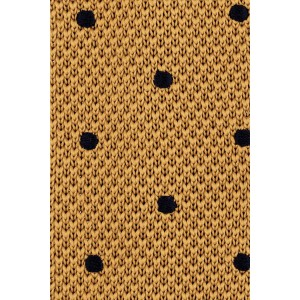 Rosewood Mustard with Navy Polka Dots Slim Knitted Necktie