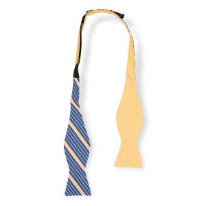 Anchor Print Solid Yellow Reversible Silk Self Tie Bow Tie
