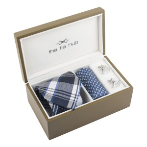 Blue Checked Silk Necktie Combo