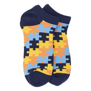 Blue Puzzle Ankle Length Bright Socks