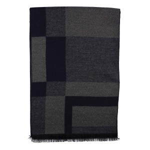 Emerson Blocks Navy and Grey Reversible Scarf