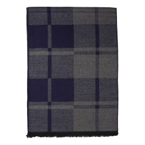 Navy Blue and Grey Check Reversible  Scarf