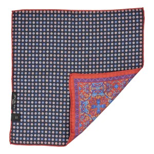 Red Print with Blue Flower 100% Silk Reversible Pocket Square