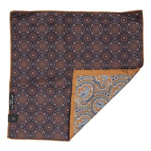 Rust Paisley with Navy Blue Flower 100% Silk Reversible Pocket Square