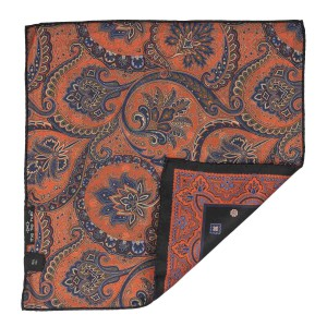Blue Squares with orange paisley 100% Silk Reversible Pocket square