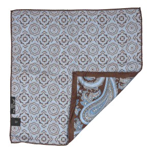 Brown Paisley With Sky Blue 100% Silk Reversible Pocket Square