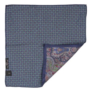 Navy Blue Paisley with Navy Blue Flower Reversible 100% Silk Pocket Square