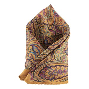 Paisley Printed Chrome 100% Silk Pocket Square