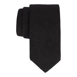 Black Self Paisley Reversible 100% Microfiber Necktie