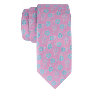 Berry Pink With Aqua Floral Reversible 100% Microfiber Necktie