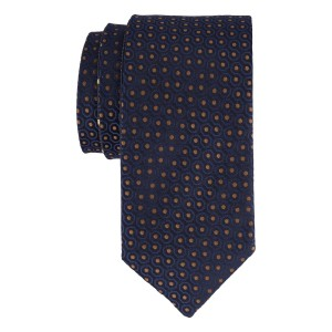 Navy with Ocher Dots Reversible 100% Silk Necktie