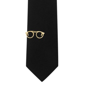 Spectacles Gold Round Tie Bar