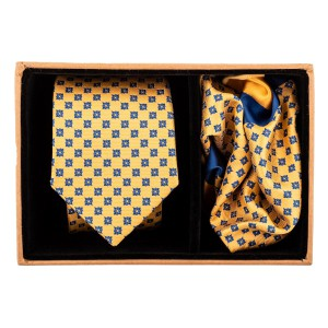 Yellow With Blue Star Necktie and Pocket Square Combo