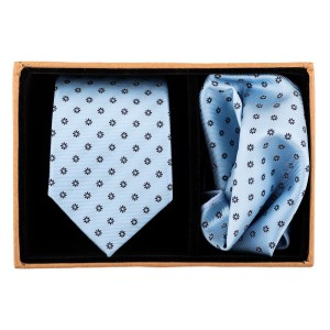 Sky Blue Necktie and Pocket Square Combo