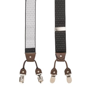 Pin Dot Black Y Back Suspender