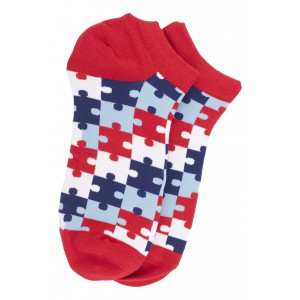 Red Puzzle Ankle Length Bright Socks