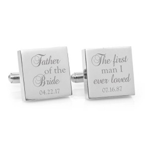 Personalised Engraved Square Wedding or Logo Cufflinks