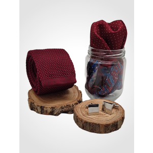 Maroon Knitted Necktie with Cufflink and Pocket Square Gift Set