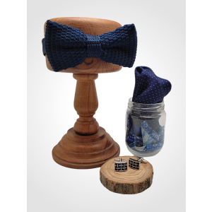 Black Knitted Bow Tie with Cufflink and Pocket Square Gift Set