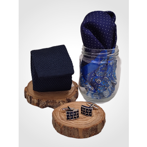 Blue Knitted Necktie with Cufflink and Pocket Square Gift Set