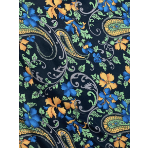 Black with Yellow Floral Paisley Silk Cravat By The Tie Hub