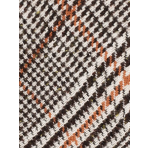 Houndstooth Brown and Orange Checkered 100% Shantung Silk Necktie