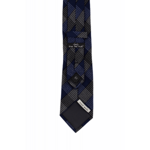Royal blue With Black and White Checkered 100% Shantung Silk Necktie