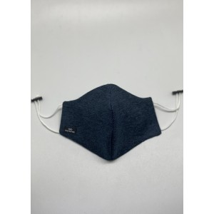 Navy Blue Herringbone Wool Mask