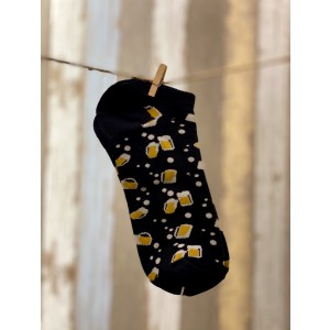 Black Beer Mug Ankle Length Bright Socks
