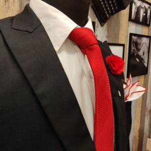Red Necktie , Pocket Square and Flower Lapel Pin