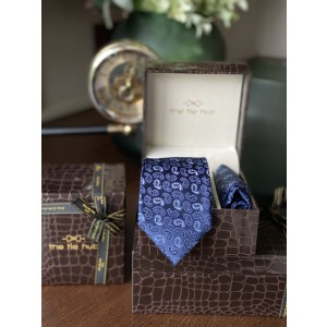 Blue Paisley Necktie and Pocket Square Combo