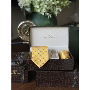 Yellow Self Square Necktie,Pocket Square and Cufflinks Combo